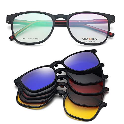 GREY JACK Flexible TR90 Spectacle Frame with 5Pcs Magnetic Polarized Clip On Sunglasses Lenses for Myopic Men Women 6033 Matte Black(Red)