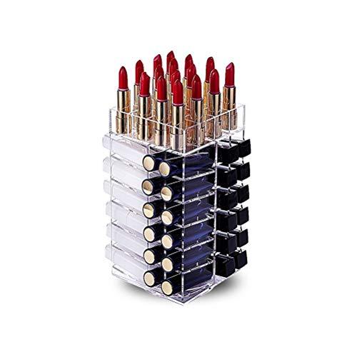 MIFASA Support de rouge à lèvres, acrylique tournant 64 organisateur de tour de rouge à lèvres Tour de rouge à lèvres rotatif Porte-brillant à lèvres avec séparateurs amovibles
