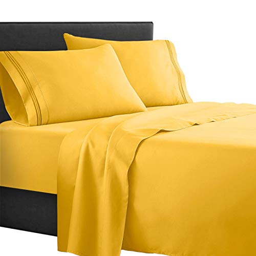 Clara Clark Supreme 1500 Collection 4pc Bed Sheet Set - Queen Size, Yellow