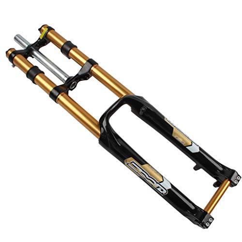 ZZQ- Horquilla De Suspensión para Bicicleta De Montaña MTB Horquilla DH De Doble Hombro Descenso De Velocidad Suspensión del Freno De Disco del Eje del Cañón Am Sin Bloqueo 26 Pulgadas