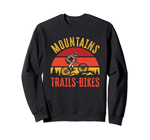 Mountains Trails Bikes | Vintage Downhill Mountain Biking Sweatshirt