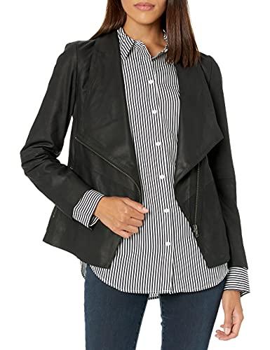 BB Dakota by Steve Madden Damen East Side Drape Front Jacket Lederjacke, schwarz, Medium