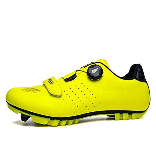 Profesional Autoblocante Ciclismo MTB Zapatos De Cuero Espejo Superior Zapatillas De Bicicleta De Montaña De Los Hombres Al Aire Libre Antideslizante Bicicletas Grapa del Calzado (43 EU,Amarillo)