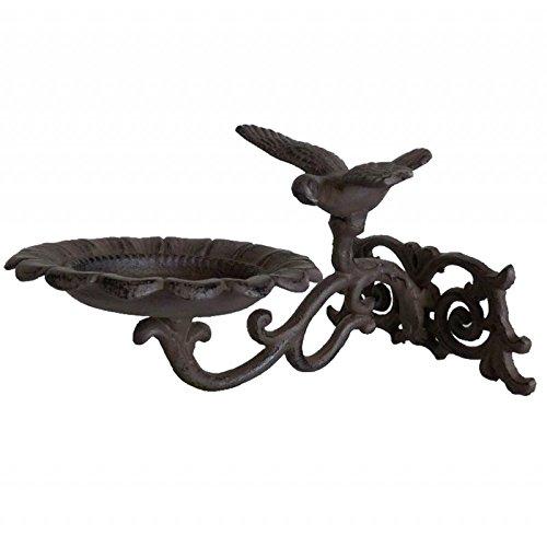 L'Héritier Du Temps schaal stijl vogelbad of wandlamp, voor binnen en buiten, voor het bevestigen van gietijzer, gepatineerd, bruin, 15 x 18,5 x 24,5 cm
