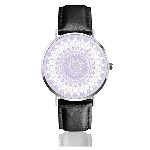 Reloj de pulsera de cuarzo, bohemio, color morado pastel, con correa de piel sintética, resistente al agua, reloj de cuarzo de acero inoxidable