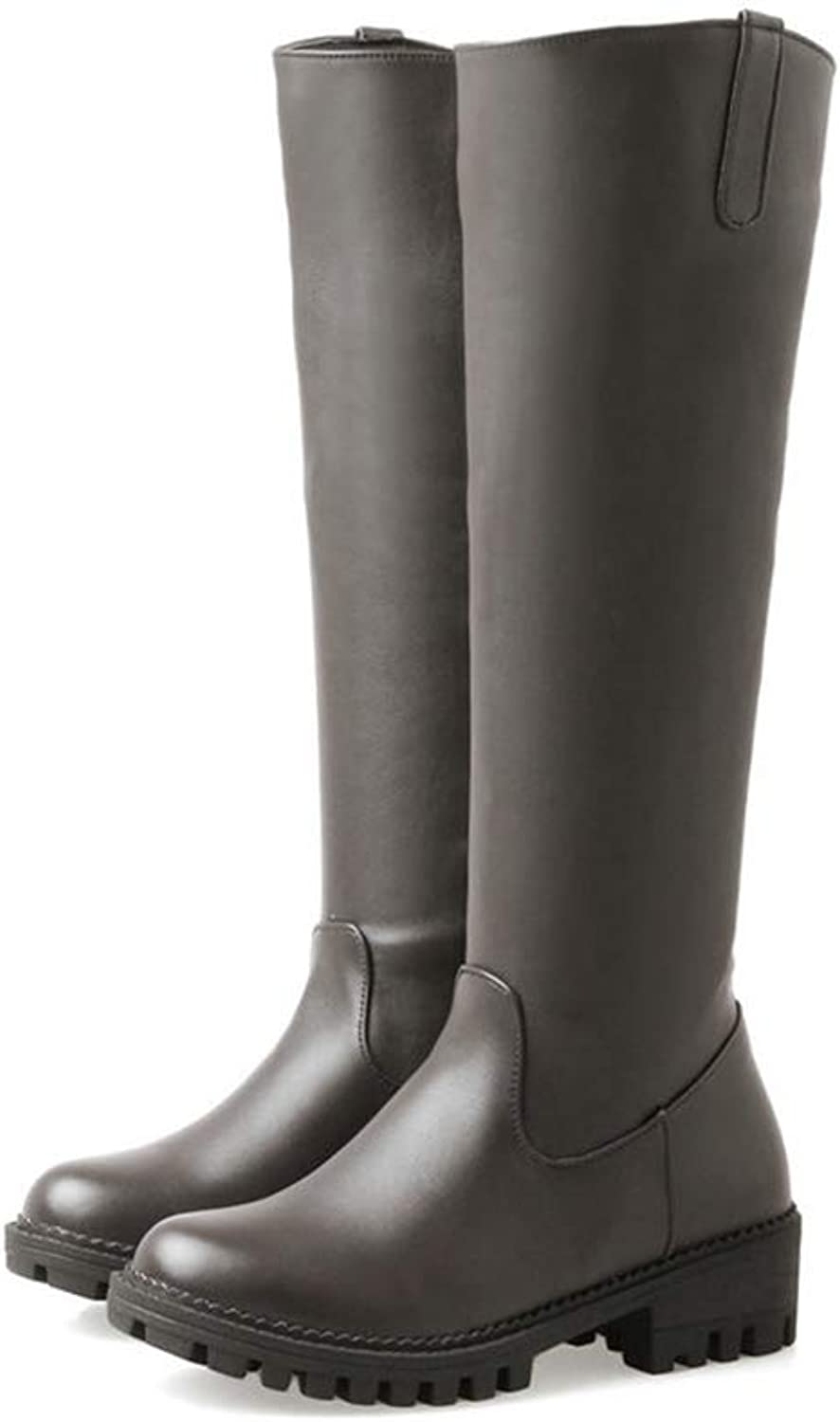 Hoxekle Women Knee-high Boots Mid Heel Sythetic Autumn Winter Round Toe Casual Black Concise Thigh Platform