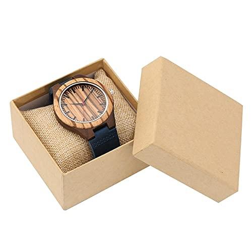 KUELXV Reloj de Pulsera de Madera Reloj de Madera Retro para Hombre Reloj de Pulsera de Cuarzo con Correa Azul Elegante Pantalla de Segundos Rojos Relojes para Hombre de Madera para Hombre Reloj de