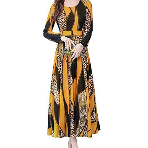 Routinfly Damen Langarm Kleider Maxikleid Abendkleid Vintage Ethnischer Stil Rundhal Leopardenmuster Drucken Kleider