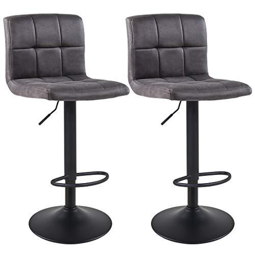 Duhome Barhocker 2X Barstuhl Kunstleder oder Stoff Tresenhocker Bar Sessel gut gepolstert höhenverstellbar mit Lehne eckig 451Y, Farbe:Dunkelgrau, Material:Lederoptik