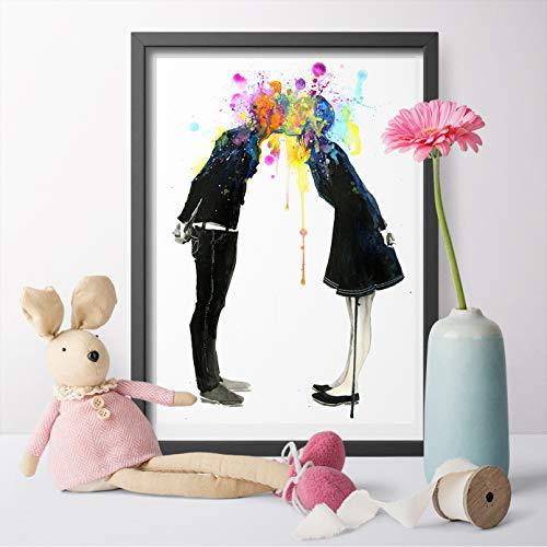 DIARQT Cuadros Decorativos Arte Abstracto Big Bang Kiss Lover Arte Lienzo Carteles e Impresiones Lienzo Pintura Pared imágenes artísticas para decoración del hogar-16x24inch