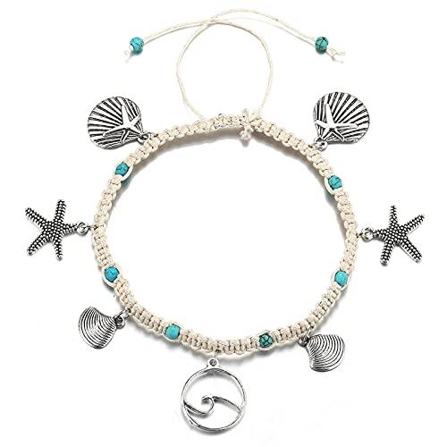 Yienate Tobillera de cuerda bohemia con colgante de estrella de mar y concha de onda, turquesa, cadena de pie, cadena hecha a mano para mujeres y niñas