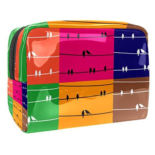 Kosmetiktasche Vögel auf dem Draht Schminktasche Tragbar Voller Druck Reise Make Up Tasche wasserdicht Kulturbeutel für Frauen Mädchen 18.5x7.5x13cm