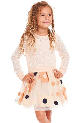 Truly Me, Big Girls' Two-fer Fit-N-Flare Style Floral Tutu Dress with Pullover Sweater, Size 7-16 (Soft Peach Multi, 14)