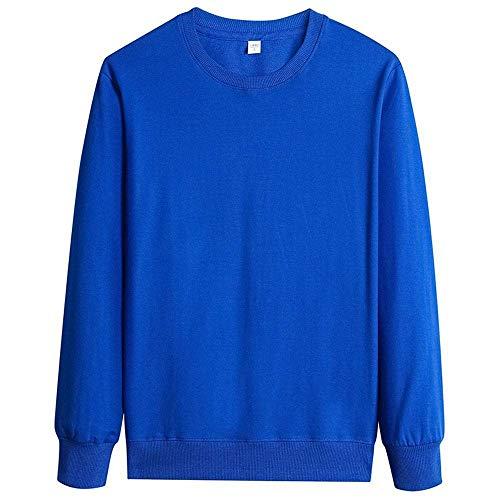 WANCHDP Sudaderas de manga larga para hombre, 100 % algodón, cuello redondo azul celeste XXXL