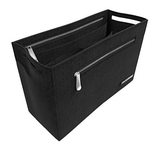"""Sternenfunke Hand-Taschenorganizer 25 cm mittel aus Filz in schwarz mit 2 Reißverschluß-Fächern """"Bag in The Bag"""" (25 cm, mittel)"""