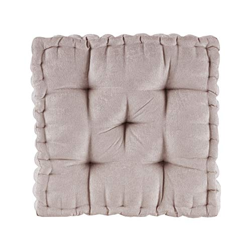 Intelligent Design Azza Floor Pillow Square Pouf Chenille Tufted with Scalloped Edge Design Hypoallergenic Bench/Chair Cushion, 20'x20'x5', Blush