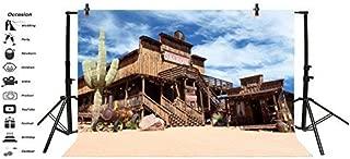 Baocicco 10x8ft Western Saloon Cowboy Theme Backdrop Desert Town Huge Cactus Saloon Outdoor Scene Vinyl Photography Background America Western Wooden Building Desert Traveling Adventure Portrait Prop