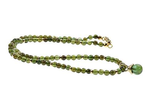 c-c Damen Kette u. Anhänger Edelstein Turmalin - grün / 14Karat Gelbgold/Länge 41,5cm
