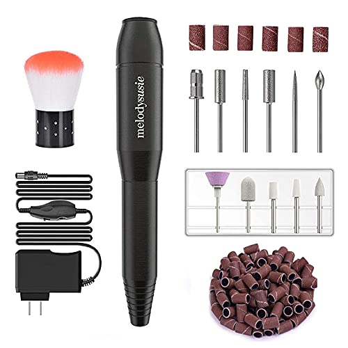 MelodySusie Electric Nail Drill Machine 11 in 1 Kit, Portable Electric Nail File Efile Set for Acrylic Gel Nails, Manicure Pedicure Tool with Nail Drill Bits Sanding Bands Dust Brush, Black