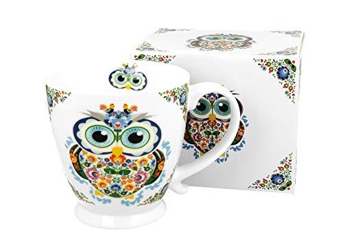 Duo Secret Garden - Taza de café y té (porcelana, 480 ml), diseño de búho