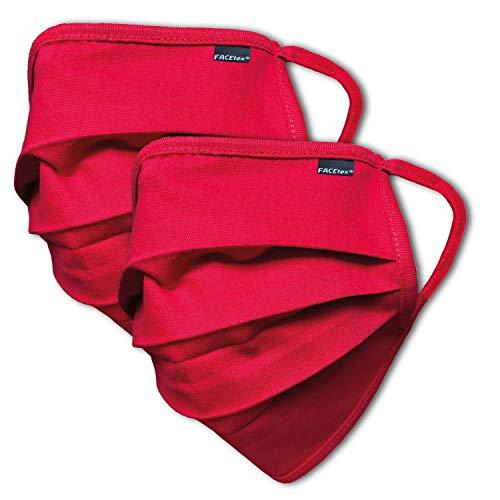Facetex 2er Pack Abdeckung 100% BIO-Baumwolle | waschbar bis 90°C, Bügeleisen-geeignet, OEKO-TEX 100 Standard | Einheitsgröße für Erwachsene | wiederverwendbare Behelfs-Abdeckung für Mund Nase in rot