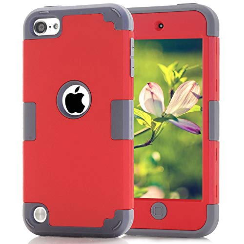 Case for iPod 7 6 5 Cases for iPod Touch 6th Generation Case for iPod 5 Cases, Dual Layered 3 in 1 Hard PC Silicone Shockproof Heavy Duty Case for Apple iPod Touch 7th 6th 5th Generation (red+Gray