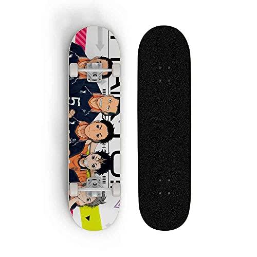 Kssmice Tablero Completo de Skateboard, Haikyuu !!TOBIO Kageyama, Adecuado para Adolescentes, mapas Concave Cruiser, Kick Scooter, Mejor cumpleaños