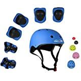 UniqueFit Lucky-M Kids Outdoor Sports Protective Gear,Boys and Girls Safety Pads Set [Helmet,Knee&Elbow Pads and Wrist Guards] for Roller, Scooter, Skateboard, Bicycle(3-8 Years Old) (Blue)