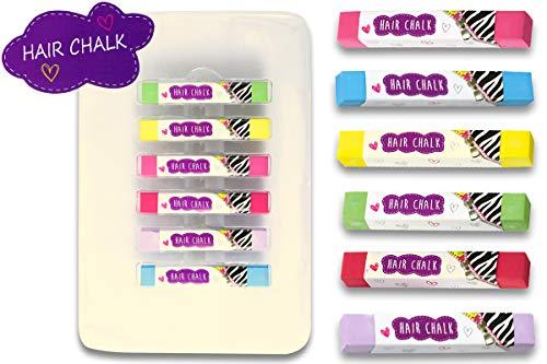 Trendario Haarkreide, Hair Color für Mädchen, bunte Haarfarbe, 6 Farben Kinder Haar Colorationen, auswaschbare Haarfarbe