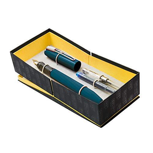ONLINE Set mit Füllhalter Slope Midnight Blue, Iridiumfeder M, inkl. Konverter und Kombi Tintenpatrone, ergonomisches Griffstück, Füller für Rechtshänder, Schulfüller, in hochwertiger Geschenkbox