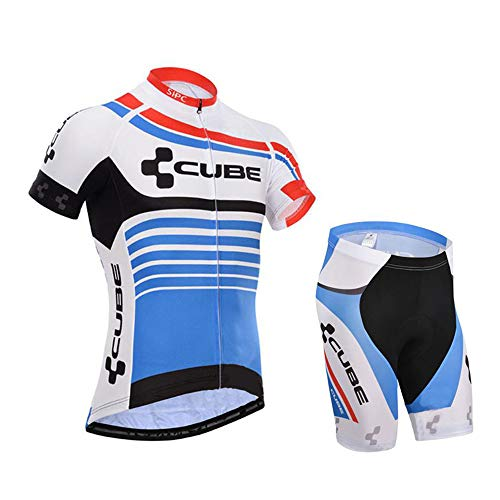Radsport Trikot Set Herren Atmungsaktiv Schnelltrockend Fahrradtrikot Kurzarm + Radhose mit 3D Sitzpolster Fahrradbekleidung Herren Set