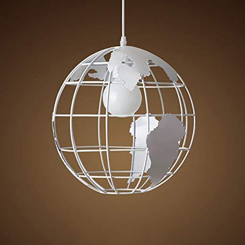 ZHHk Globe Earth Iron Lámpara Colgante Light Shade 28cm Negro/Blanco for Cocina Isla Comedor Restaurante Decoración E27 (Color : White)