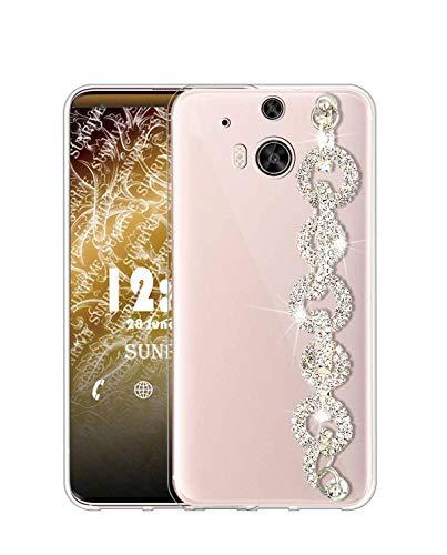 Sunrive Kompatibel mit HTC One M8 Hülle Silikon,Handykette Glitzer Diamant Strass Handyhülle Transparent Schutzhülle Etui Kette Case Backcover Handschlaufe(Ring) MEHRWEG