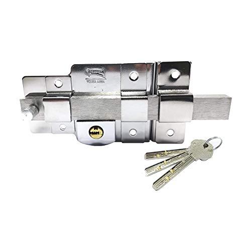 Cerradura de Sobreponer Barra AS 875 Fija Derecha Cromo Extra Seguridad
