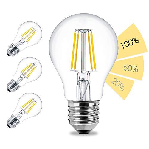 linovum 4er Set fourSTEP Dim LED E27 Birne mit 4-Schritt-Dimmung 'Dimmbar mit jedem Lichtschalter' - 6W 600lm 2500K warmweiß