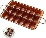 Brownie Baking Pan Nonstick Copper Steel with Built-In Slicer, Ensures Perfect Crispy Edges, Metal Utensil Brownie Pans