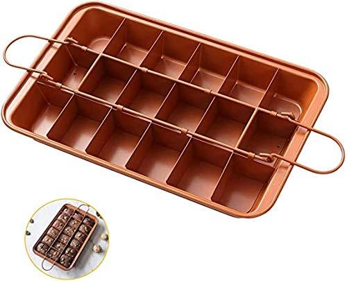 Brownie Baking Pan Nonstick Copper Steel with Built-In Slicer, Ensures...