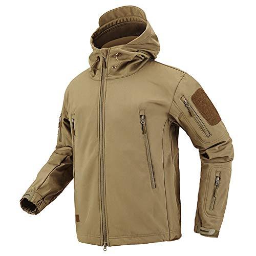 Camouflage Militärjacke Herren Wasserdicht Softshell Taktische Jacke Kleidung Winter Fleece Mantel Windbreaker Gr. XL, khaki