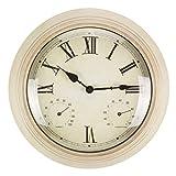 Q-HL Reloj de Pared Large 48 cm Reloj de Pared silencioso de Interior, termómetro e higrómetro Reloj no ticture para baño Oficina de la Escuela de Dormitorio de la Cocina
