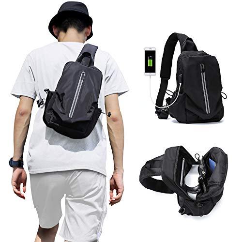 Mochila pequeña con correa, mochila cruzada para hombres y mujeres, mochila de hombro para senderismo, ciclismo, senderismo, viajes, gimnasio, camping, puerto de carga USB, nailon