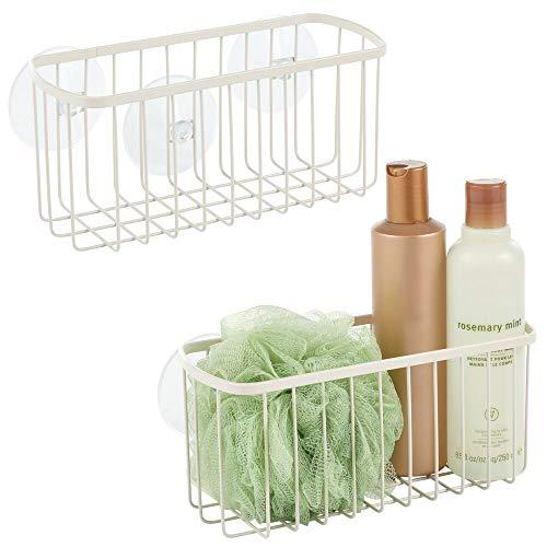 mDesign - Cesta de almacenamiento de metal con ventosa para ducha, jabón, esponja para organizar el baño de lavado corporal, lufas,...