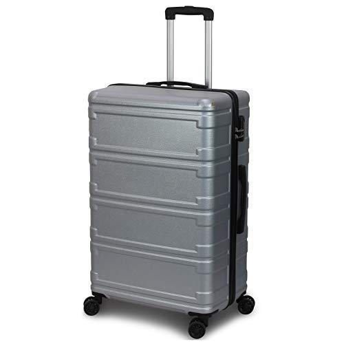 ORMI Set 3 trolley rigide in ABS con 4 ruote e lucchetto a combinazione (Argento)