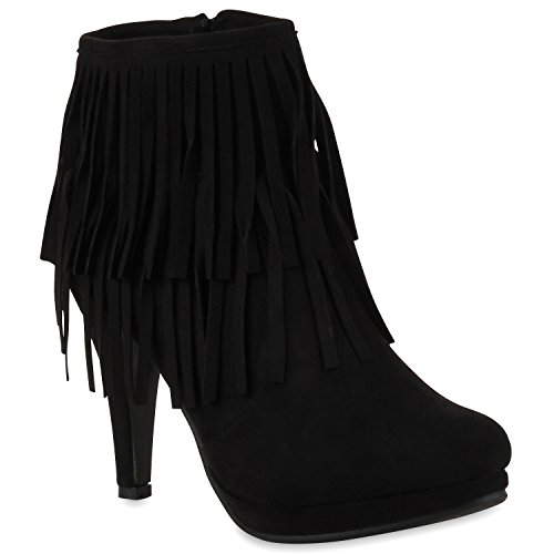 Stiefelparadies Damen Ankle Boots Fransen Stiefeletten Zipper Schuhe 110679 Schwarz 36 Flandell