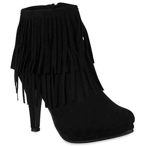 Damen Ankle Boots Fransen Stiefeletten Zipper Schuhe 110679 Schwarz 36 Flandell
