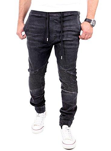 Reslad Jogging Jeans Jogger Denim Biker-Style Jeans-Herren Slim Fit Jogging-Hose RS-2068 Schwarz XL
