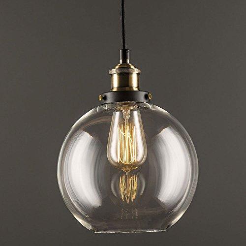 Glas Pendelleuchte Vintage Industrie klar Glas Ball Deckenleuchte rund, Lampenschirm Anh?nger Licht f¨¹r Home Office Schlafzimmer Coffee Shop