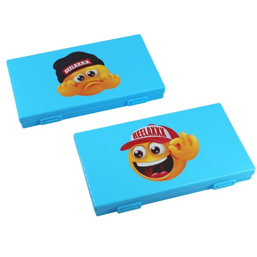 REELAXXX - 2 Set Maskenbox Kinder Blau - Schmuck Perlen - Aufbewahrungsbox Masken - Karten und Zubehör - Box für Maske - Aufbewahrung - Maskentaschen - Etui Mask Case - Tasche Stimmung (HumeurBlau)