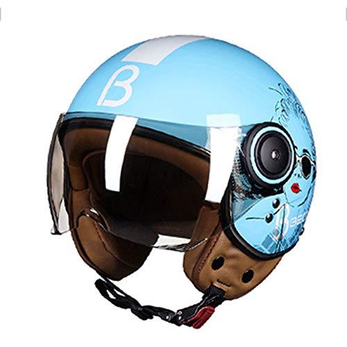 Casco de motocicleta vintage medio casco, medio casco retro casco Harley casco anticolisión bicicleta eléctrica helicóptero casco adulto casco jet casco modular (azul claro + niña en blanco y negro)