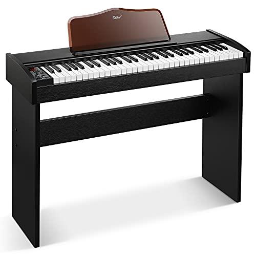 Eastar EK-10S Teclado de piano, 61 Teclas de Tamaño Estándar, Soporte de Piano Digital de Madera Maciza, Piano Eléctrico para Principiantes con Pedal de Sujeción y Soporte de Música, Regalo Esencial