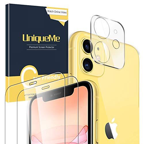 [2 Pezzi] UniqueMe Pellicola Vetro Temperato (6,1 Pollici) + [1 Pezzi] Fotocamera Posteriore Pellicola Vetro Temperato per iPhone 11